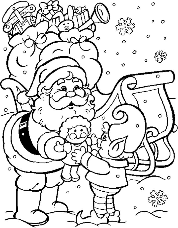 santa sleigh elf christmas holiday coloring page - Xmas Coloring Pages