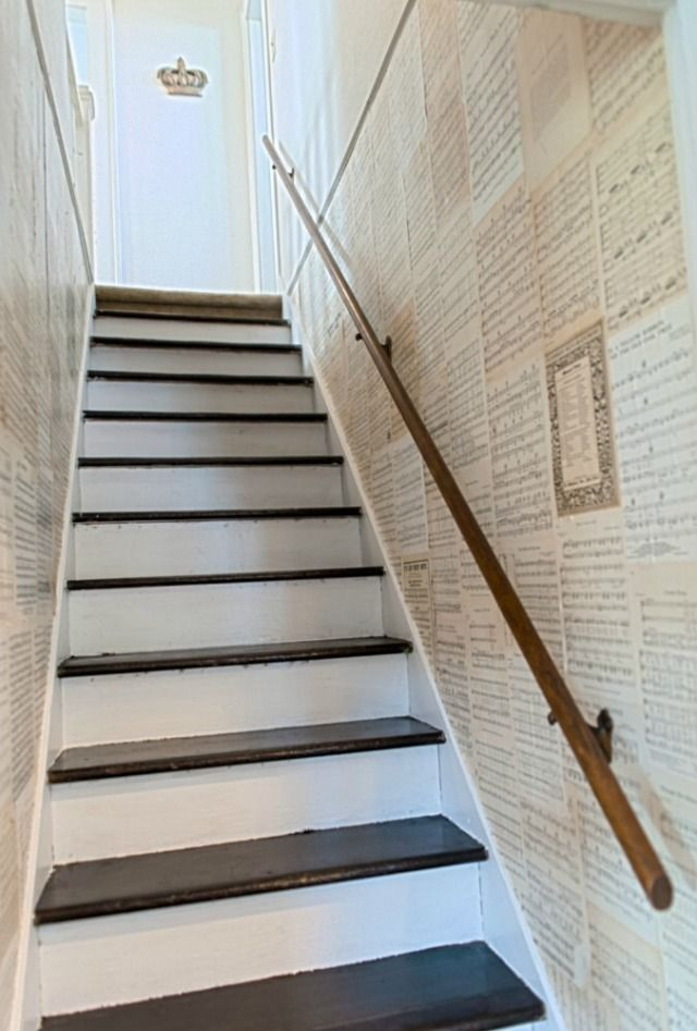 Staircase Book Page Wall