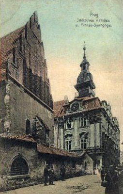 Old Postcard of Josefov in Prague