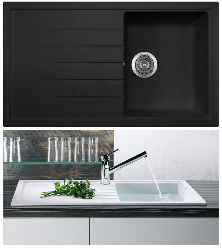 Bluci Piazza 1 0 Compact Granite Kitchen Sink In Black Granite