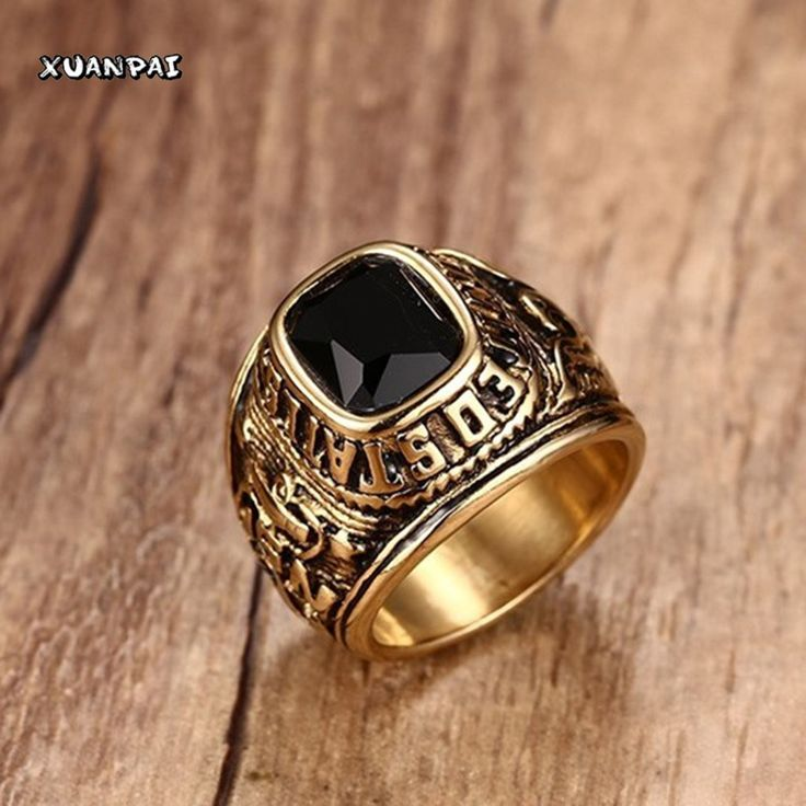 US Navy Ring (Gold Plated/Black CZ Stone) U.S. Navy Seals Marine Corps USMC Veteran Eagle Ring (Size 8-11)
