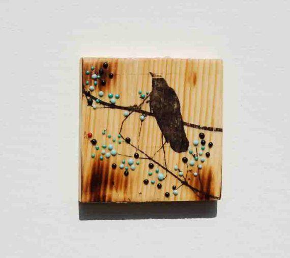 Black Bird Original Mixed Media Mini Painting by susannajarian