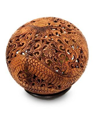 Balinese Coconut Shell Carving - Dragon Ball Motif
