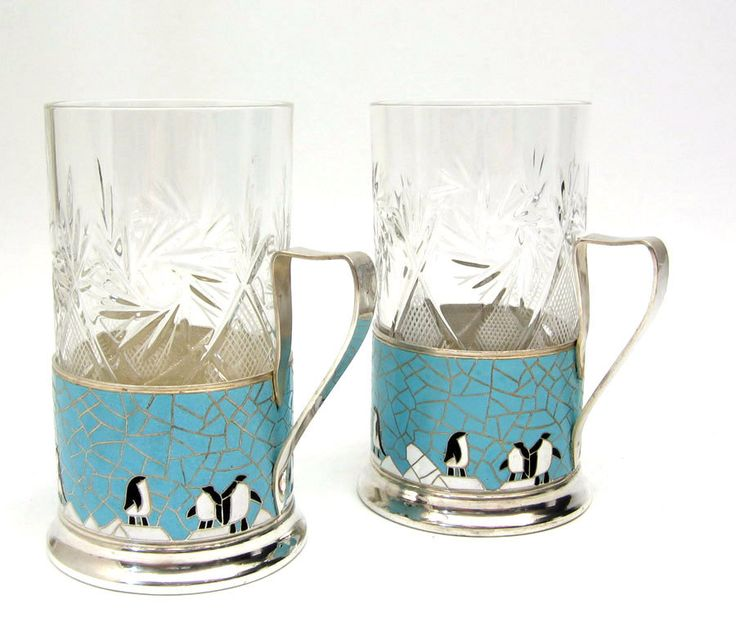 Russian Enamel Tea Glass Holders with Penguins at The Russian Gift Shop in Lisle IL