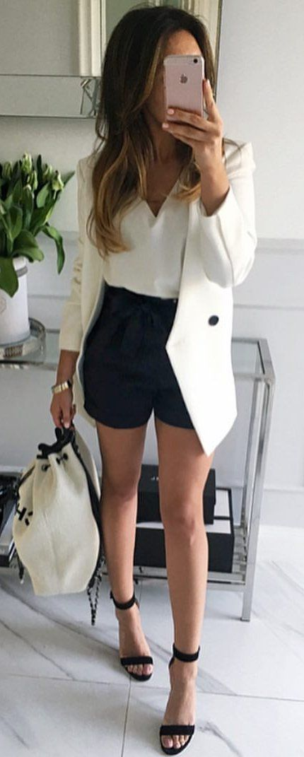 #summer #outfits White Blazer + Black Short + White Blouse + Black Sandals
