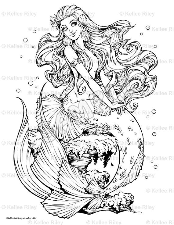 Fishy Friends Mermaid Myth Mythical Mystical Legend Mermaids Siren Fantasy Mermaids Ocean Sea Enchantment Sirens Meerjungfrau sirène sirena Русалка pannu havfrue zeemeermin merenneito syrenka sereia sjöjungfrun sellő Coloring pages printable colouring adult detailed advanced printable Kleuren voor volwassenen coloriage pour adulte anti-stress kleurplaat voor volwassenen Line Art Black and White