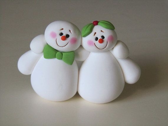 Clay Christmas Snowman Couple by ClayPeeps on Etsy, $12.00