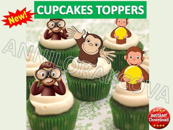 Printable Curious George Cupcake Topper Cake Pop by ANNILORACK