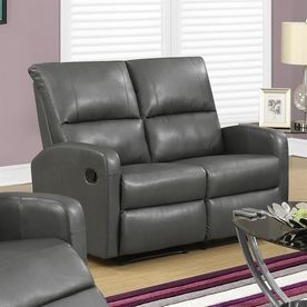 Monarch Specialties Casual Charcoal Gray Faux Leather Loveseat I 84Gy-2