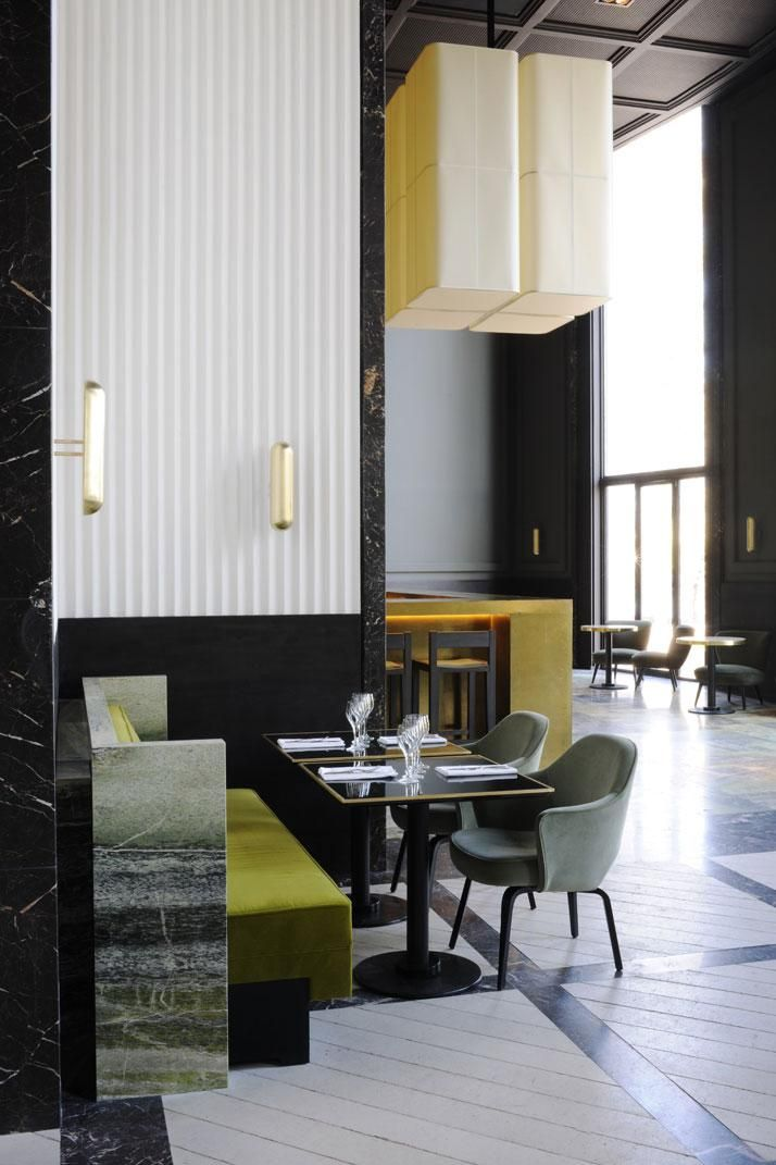 Gold Bar | Bright green velvet and dark green marble banquette seating at Monsieur Bleu by Joseph Dirand, Remodelista