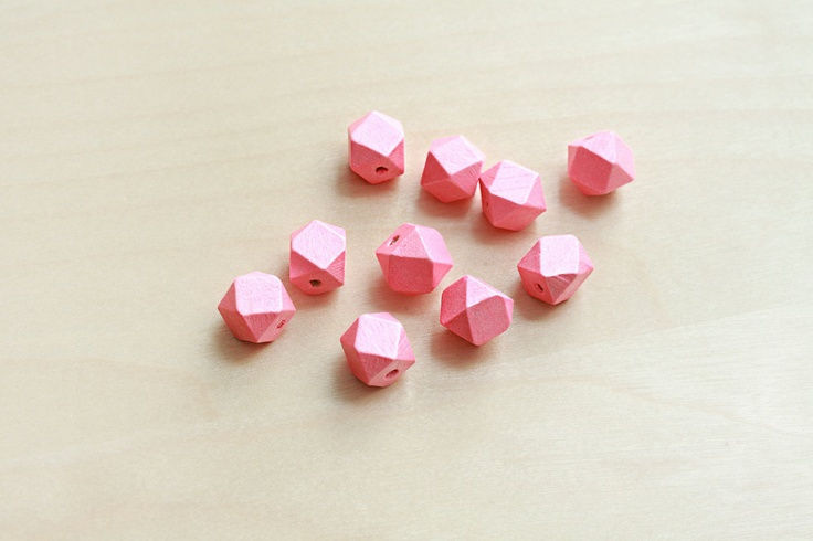 Geometric  Hand Painted Wood Beads - 10 pcs of Metallic Pink faceted wooden beads - wood supplies - 15mm. $6.50, via Etsy.