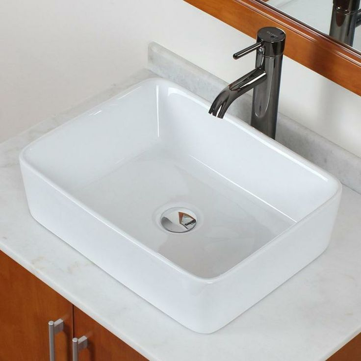 Bathroom White Square Ceramic Porcelain Vessel Sink