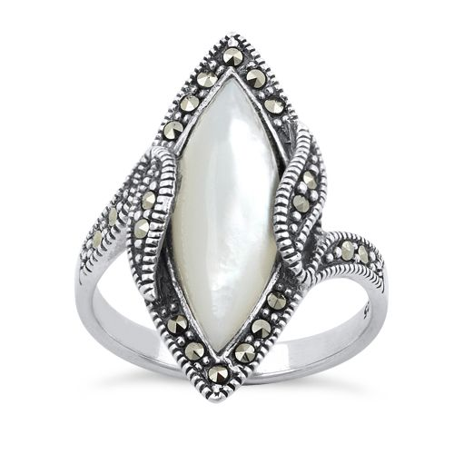 Sterling Silver Mother of Pearl Marquise Marcasite Ring $21.22