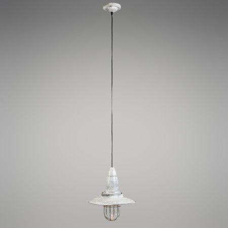 Lámpara colgante PESCADOR blanco envejecido - Lámpara de estilo náutico e industrial, en color bronce. Dispone de una rejilla que protege el cristal que cubre la bombilla.