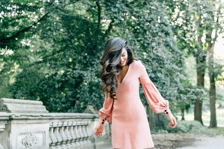 Pink Dress Velvet Buttons on Caila Quinn