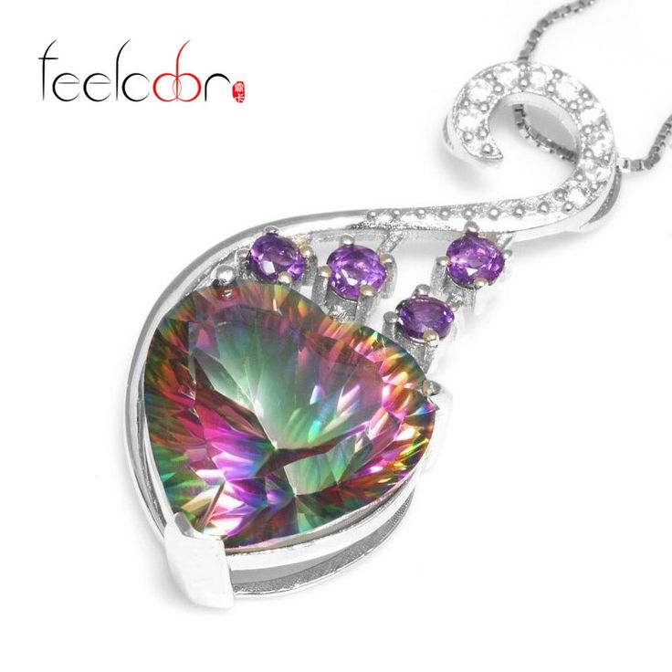Brand New 13.32ct Harp Genuine Mystic Fire Rainbow Topaz Heart Pendent Solid 925 Sterling Silver Alternative Measures