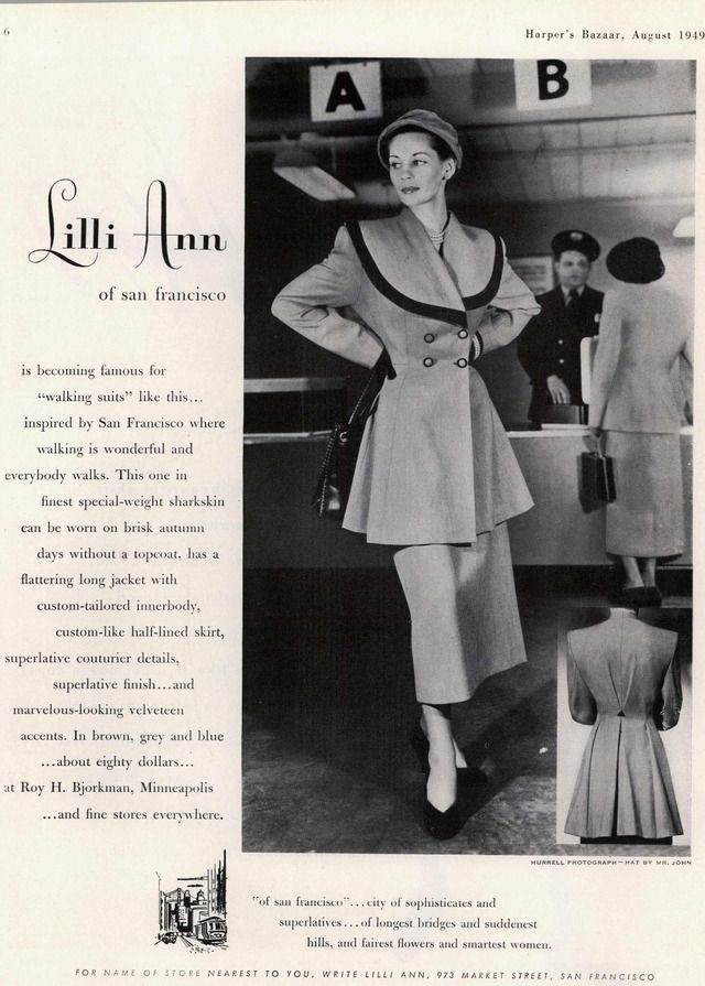 Lilli Ann long jacket skirt suit, 1949,  Harper's Bazaar. #vintage #1940s #fashion #ads