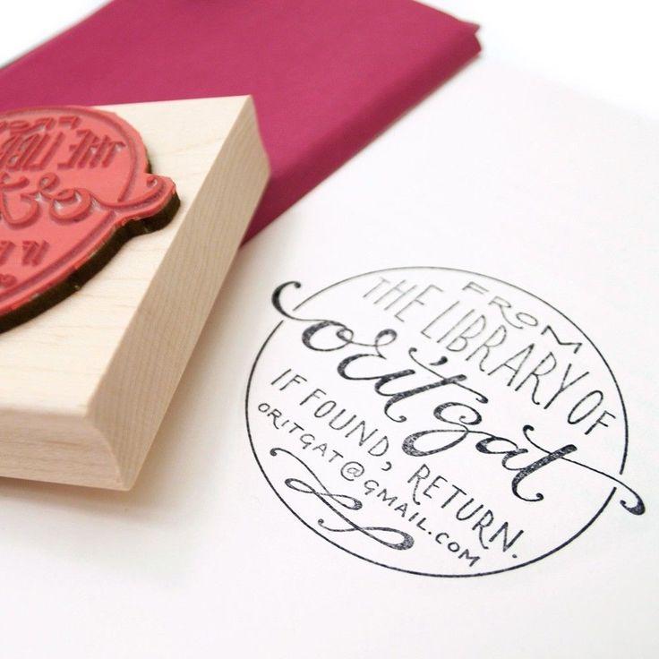 Plurabelle Calligraphy Ex Libris Rubber Stamp Custom
