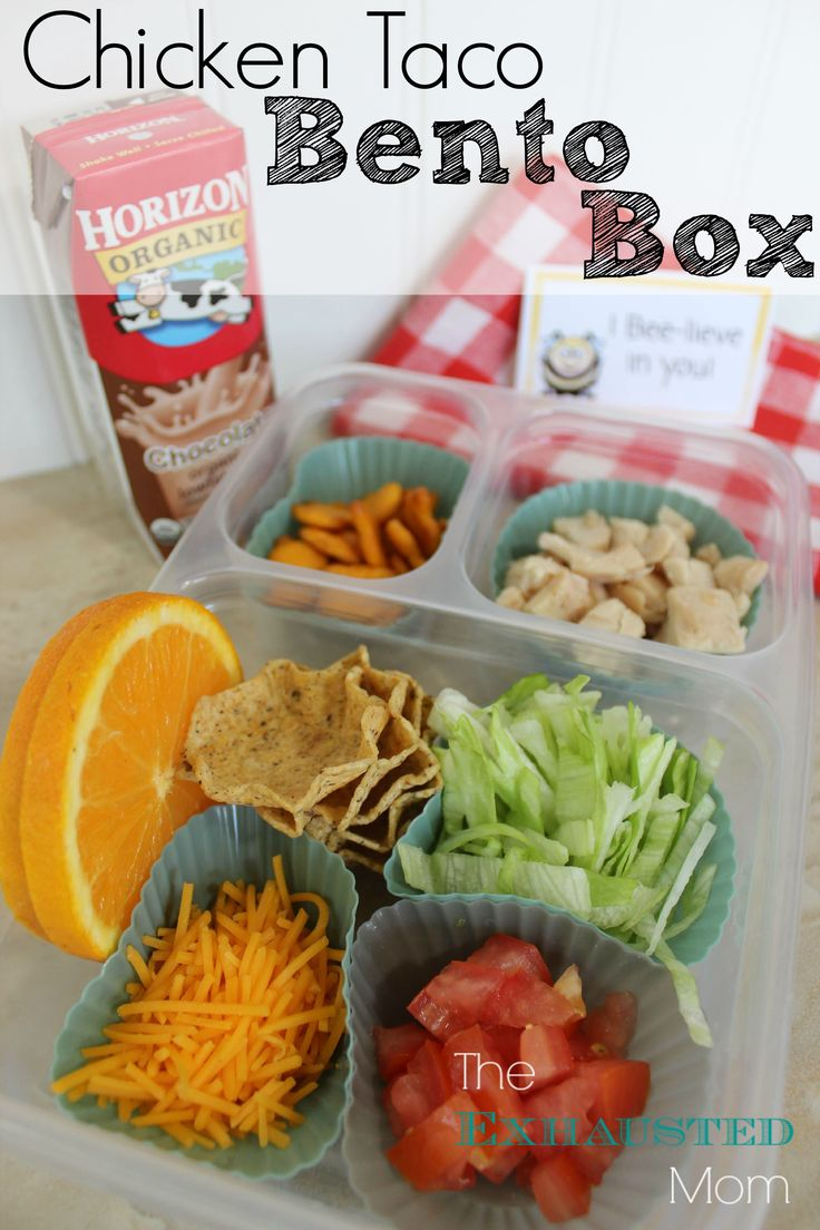 Perfect for back to school lunches: Chicken Taco Bento Box.