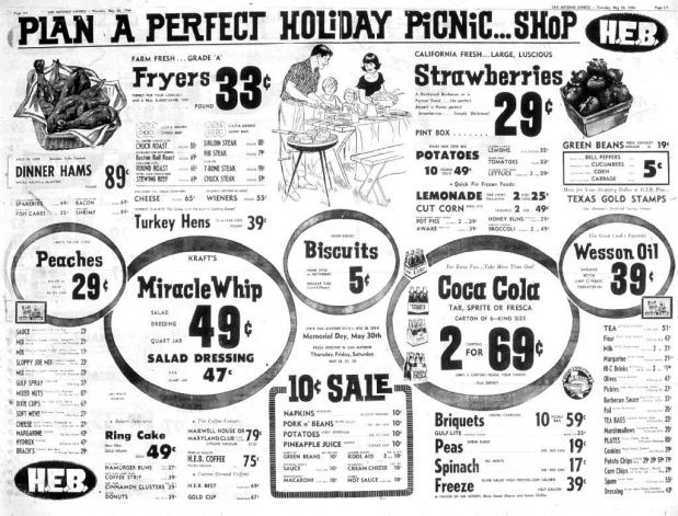 Vintage HEB Grocery store ad in San Antonio, 1966