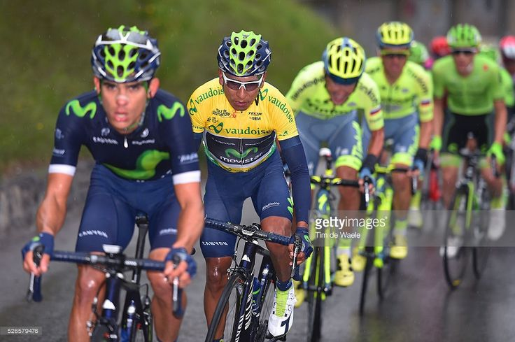Nairo Quintana of Colombia in the leader's yellow jersey competes during stage 4 of the Tour de Romandie on April 30, 2016 in Villars-sur-Ollon, Switzerland. #TDR2016 #rm_112