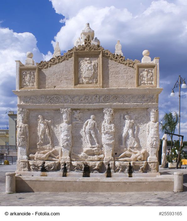 The Greek Fountain, Gallipoli, Italy - This is considered to be the oldest Italian fountain. It is situated in the area connecting the old and the modern town, right next to the lovely fishing port - an ideal place to relax and taste delicious seafood.
