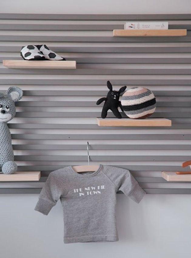 Transformer la tête de lit IKEA MANDAL hack fabriquer soi meme etagere mini bibliotheque chambre enfant en bois gris