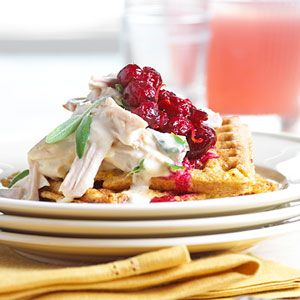 Looking for something new for breakfast? Try this yummy combination of cornmeal, parsley, sage, thyme, turkey, and waffles.