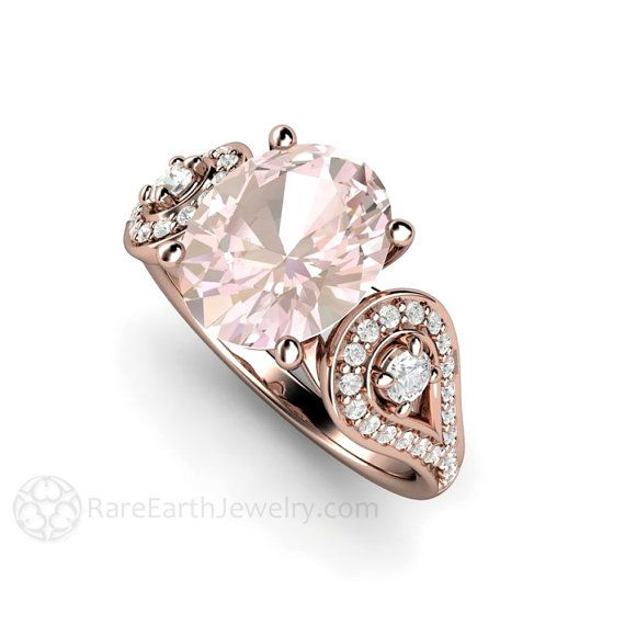 Morganite Engagement Ring Oval Accented Solitaire Morganite Ring Conflict Free…