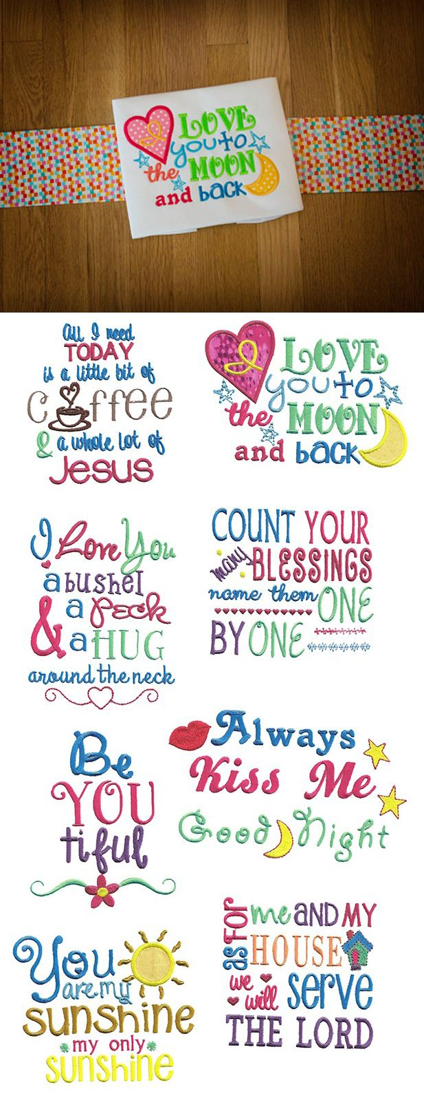 Sweet Sayings Set 1 embroidery design set available for instant download at www.designsbyjuju.com