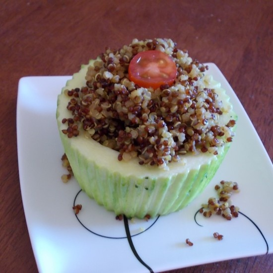 Your Inspiration at Home Spiced Quinoa in Zucchini Cups provided by Stephanie Laffin. #YIAH #quinoa #zucchini #breakfast