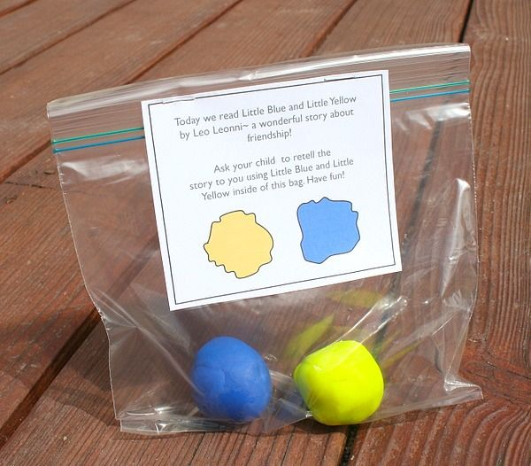 Take Home Color Mixing Activity for the story, Little Blue and Little Yellow