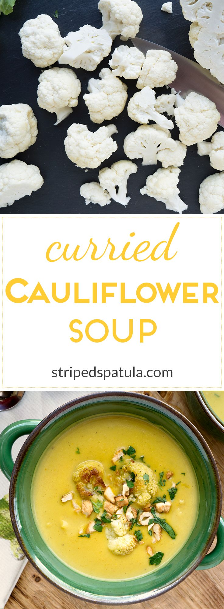 curried cauliflower soup with roasted cauliflower florets mild curry ...