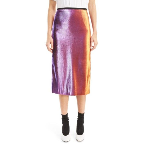 Women's Dries Van Noten Two-Tone Lame Pencil Skirt ($970) ❤ liked on Polyvore featuring skirts, pink, dries van noten skirt, pink skirt, purple pencil skirt, pencil skirts and lame skirt