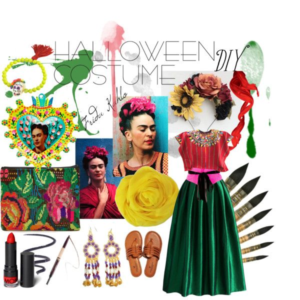 Halloween Costume DIY: Frida Kahlo by leeloominailekataribalaminatchai on Polyvore featuring Chicwish, American Eagle Outfitters, Stela 9, N2 By Les Nereides, Carolina Herrera, Monki, L'Oréal Paris, tarte, Isabey and FRIDA