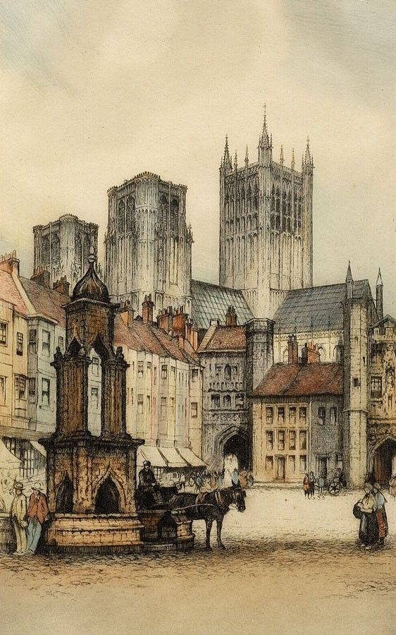 Edward Sharland - Early 20th Century Etching, Wells Cathedral