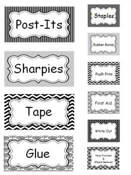 Teacher Toolbox (Black & White Themed) - EDITABLE