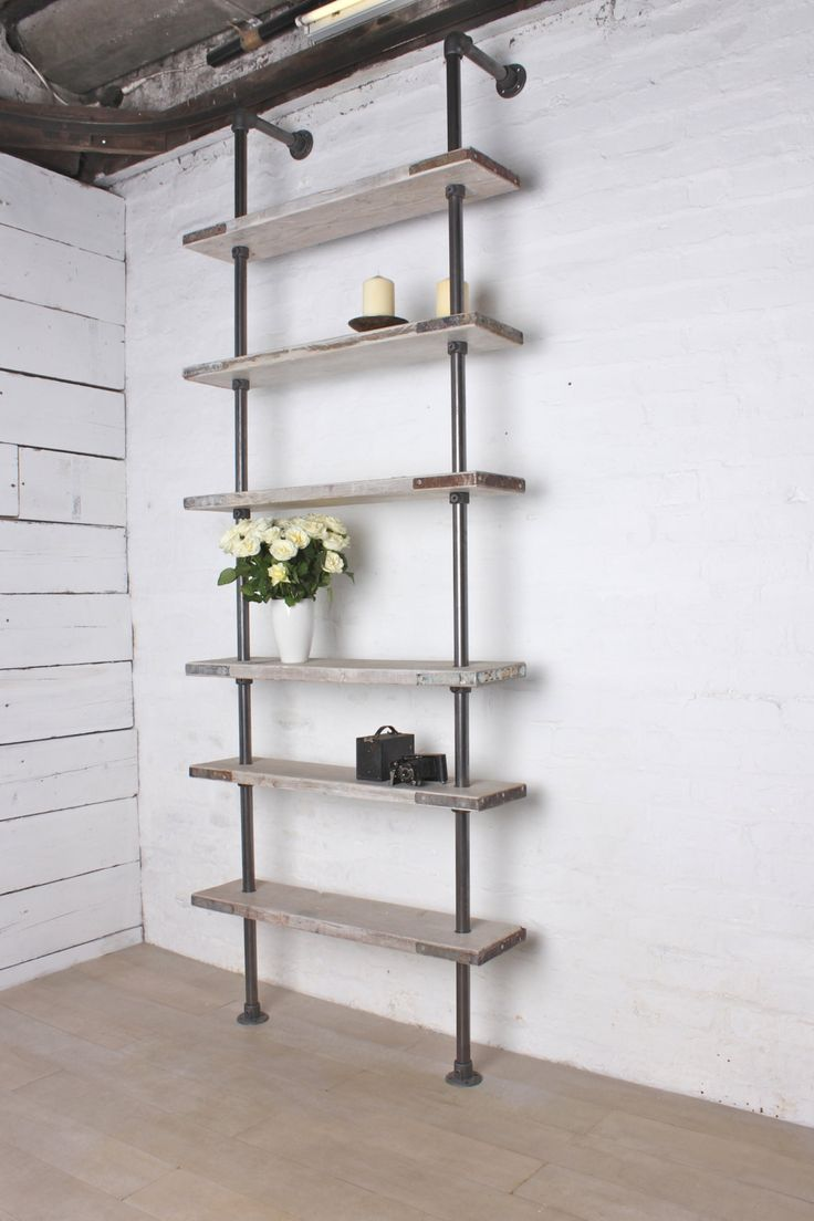 industrial pipe shelving recycled white washed scaffolding boards and steel 28460