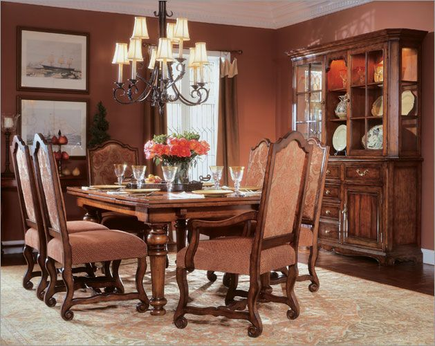 This Large Piece Dining Room Features A Classic Victorian Design, Peach  Undertones, And Dark Hardwood.