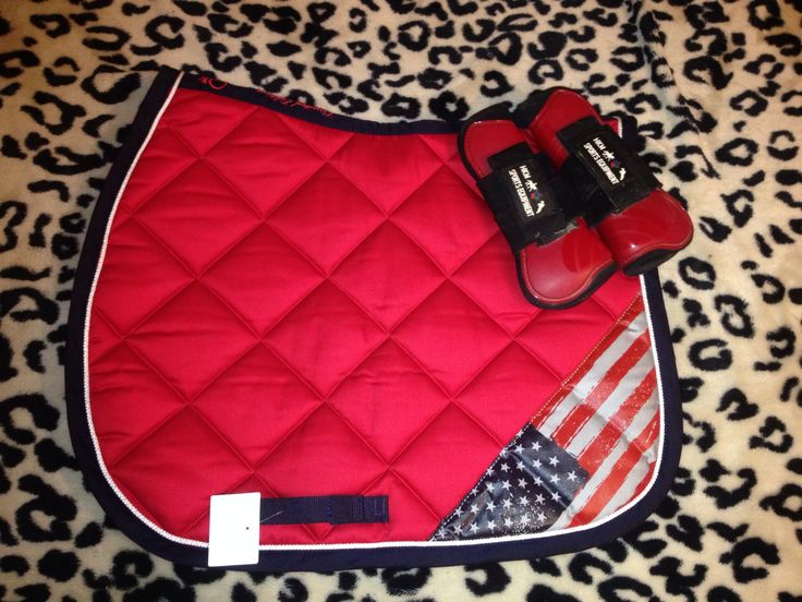 Fouganza Red USA Saddle pad, HKM Red Tendon Boots