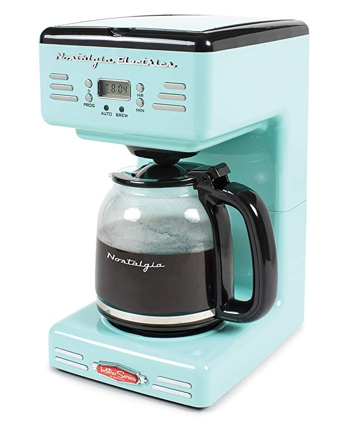 Amazon Com Nostalgia Rcof120aq Retro 12 Cup Programmable Coffee Maker Aqua Blue Kitchen Dining Coffee Maker Reviews Drip Coffee Maker Coffee Maker