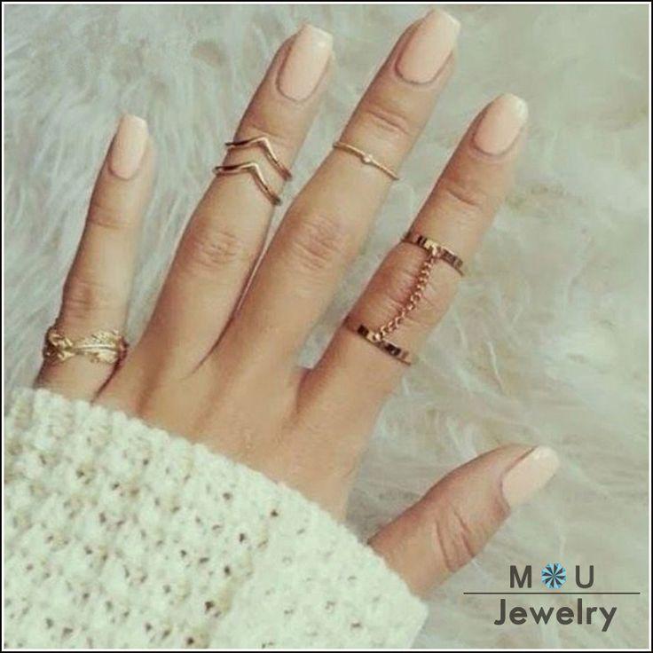 Aliexpress.com: Comprar 2016 nueva moda 6 unids/set estilo único oro Stacking Midi anillos del nudillo del dedo lindo de la hoja Set anillo para para RBK001 de conjuntos fiable proveedores en C0C0 Shopping Mall