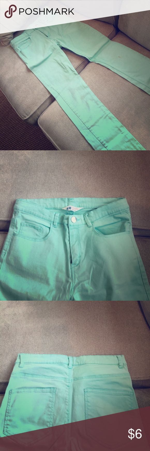 Mint Green Jeans Such a fun and summery color. Have a slight stain by the knee, so price has been way reduced. Please let me know if you want more picture or have any questions. H&M Jeans