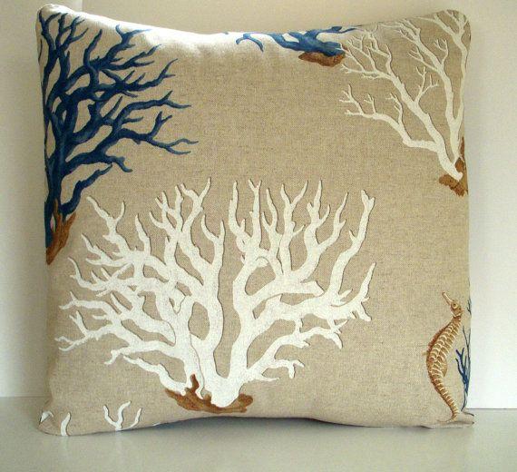 Decorative Pillow Cover Blue Mediterranean Ocean Coral Print Fabric 18
