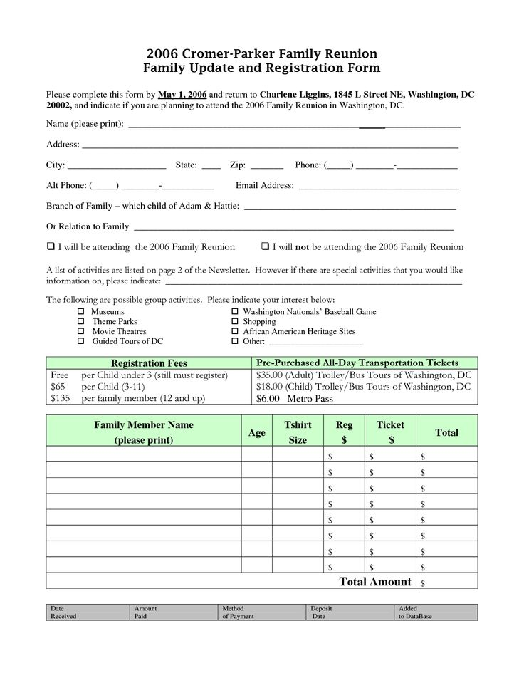 62 best images about reunion registration on pinterest for High school registration form template