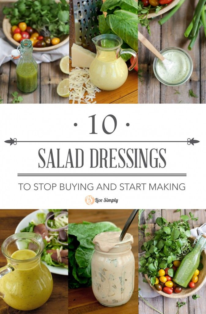 10 homemade salad dressings to stop buying and start making! This simple guide features 10 healthy real food salad dressings you can make at home in less than 5 minutes. Homemade salad dressings have never been so easy.