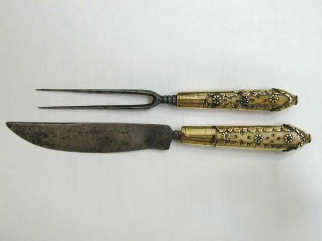 A 17th Century Ivory And Brass Handled Fork Knife Set In Leather Sheath