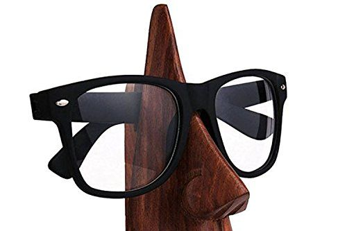PMK regalo del día de padre Mano Clásico tallada portagafas de la lente en forma de nariz Sheesham madera, Gafas Holder