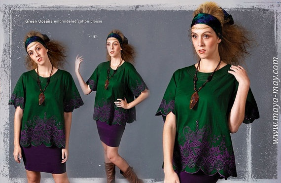 SALE GREEN OCEANA Blouse AUD125 by MayaMayCollection on Etsy, $125.00. /Color: Bottle/Grape  Fabric: 100% Cotton-voile ./Available Size: AU/UK10&16  Fully lined  Hand wash, Dry Cleanable  /Photography by: Ernita Siregar /Graphic Design by: Cliff Flo /Model: Gabrielle Hitchcock
