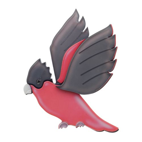 """Limited Edition Girlberta Galah Brooch in pink and grey. """"Have you ever seen from afar a flash of pink and a loud squawk from Gilberta Galah?"""""""